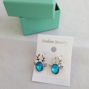 Aqua Blue and Silver Reindeer Earrings
